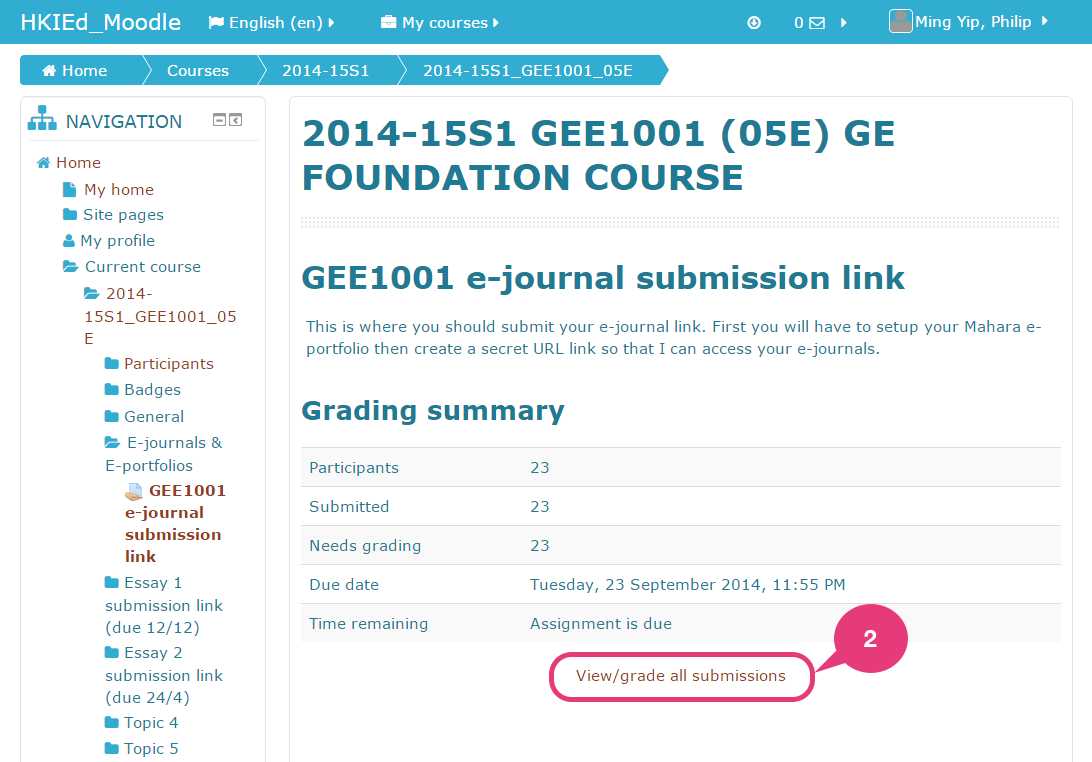 How to check student's secret URL in Moodle - Mahara @EdUHK